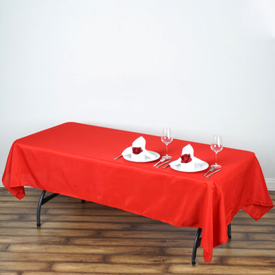 "60x102"" Red Polyester Rectangular Tablecloth"