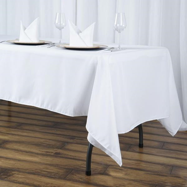 "60""x102"" White 220 GSM Seamless Premium Polyester Rectangular Tablecloth"