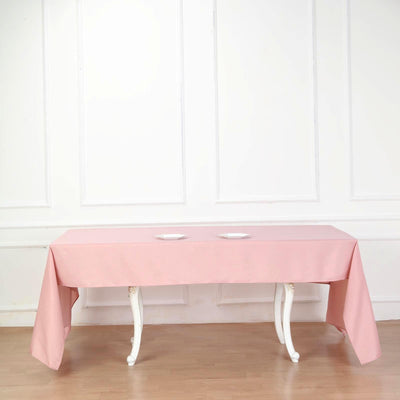 "60""x126"" Dusty Rose Polyester Rectangular Tablecloth"