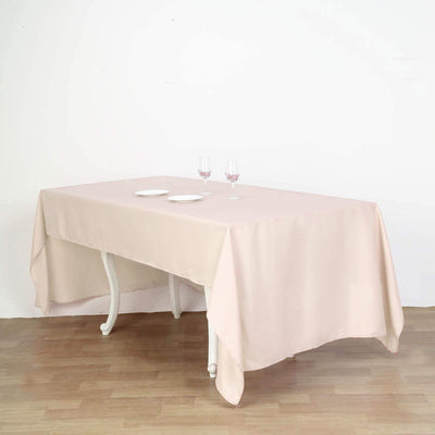 "60x126"" Beige Polyester Rectangular Tablecloth"