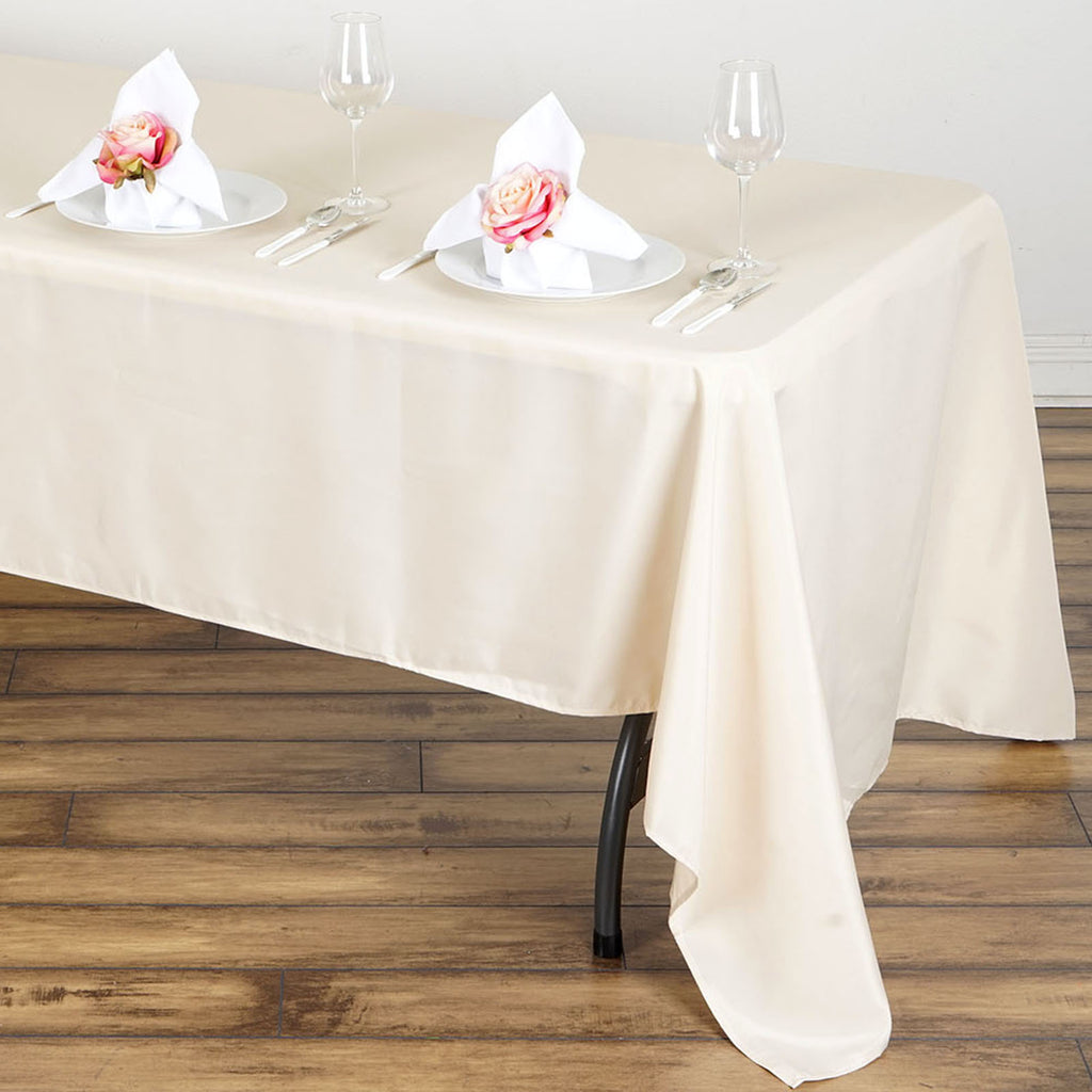 60x126 Quot Beige Polyester Rectangular Tablecloth