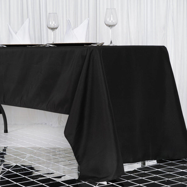 "60""x126"" Black 220 GSM Seamless Premium Polyester Rectangular Tablecloth"