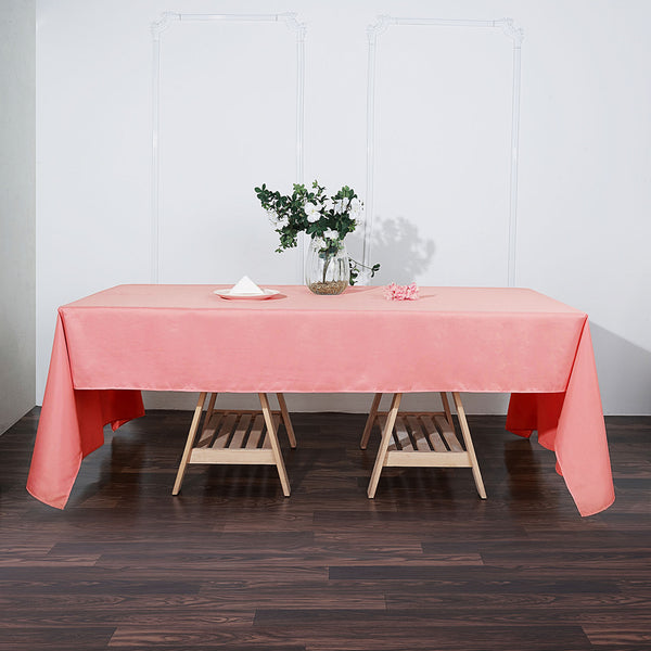"60""x126"" Coral Polyester Rectangular Tablecloth"