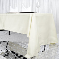 "60x126"" Seamless Premium IVORY Wholesale Polyester Tablecloth For Wedding Banquet Restaurant"