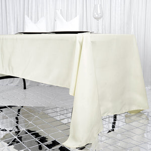 "60x126"" Seamless Premium Ivory Wholesale Polyester Rectangular Oblong Banquet Linen Tablecloth"