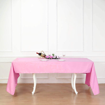 "60""x126"" Pink Polyester Rectangular Tablecloth"