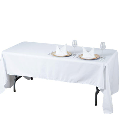 "60x126"" White Seamless Premium Polyester Rectangular Tablecloth"