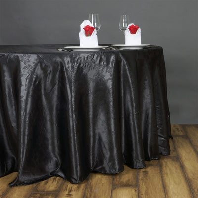 "Lily Embossed Satin Tablecloth 120"" Round - Black"