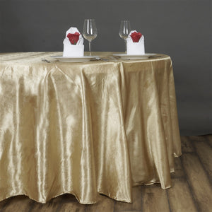 "Lily Embossed Satin Tablecloth 120"" Round - Champagne"
