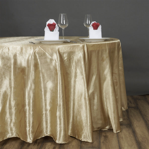 "120"" Champagne Seamless Satin Embossed Lily Round Tablecloth"