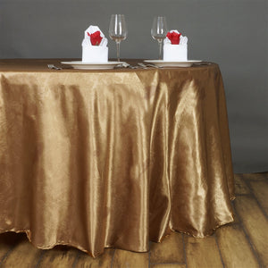 "Lily Embossed Satin Tablecloth 120"" Round - Gold"