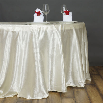 "Lily Embossed Satin Tablecloth 120"" Round - Ivory"