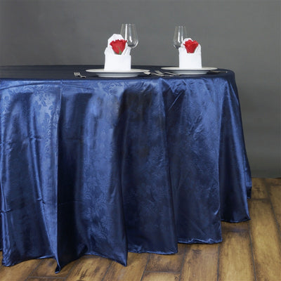 "Lily Embossed Satin Tablecloth 120"" Round - Navy Blue"