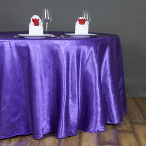 "Lily Embossed Satin Tablecloth 120"" Round - Purple"