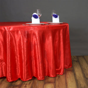 "Lily Embossed Satin Tablecloth 120"" Round - Red"