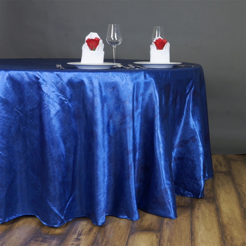 Lily Embossed Satin Tablecloth 120 Quot Round Royal Blue
