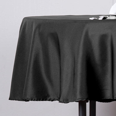 "70"" Black Polyester Round Tablecloth"