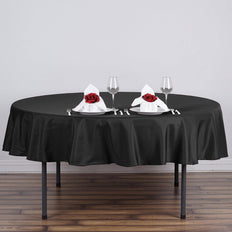 "70"" BLACK Wholesale Polyester Round Tablecloth For Wedding Banquet Restaurant"