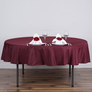 "70"" Burgundy Polyester Round Tablecloth"