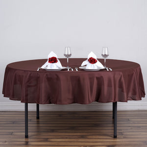 "70"" Chocolate Polyester Round Tablecloth"