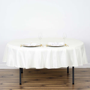 "70"" Ivory Polyester Round Tablecloth"