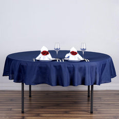 "70"" Navy Blue Polyester Round Tablecloth"