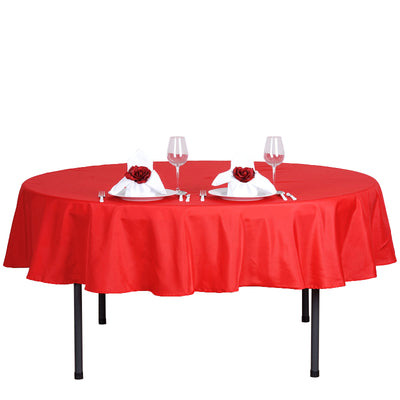 "70"" Red Polyester Round Tablecloth"
