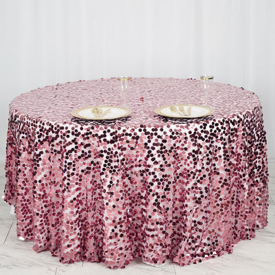 "120"" Big Payette Pink Sequin Round Tablecloth Premium Collection"