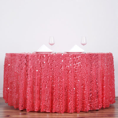 "120"" Big Payette Coral Sequin Round Tablecloth Premium Collection"