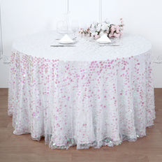 120 Inch | Big Payette Iridescent Sequin Round Tablecloth Premium Collection | TableclothsFactory
