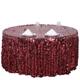 "120"" Big Payette Burgundy Sequin Round Tablecloth Premium Collection"