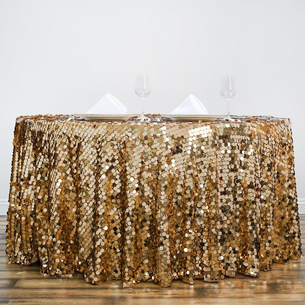 120 Quot Big Payette Gold Sequin Round Tablecloth Premium
