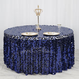 "120"" Big Payette Navy Blue Sequin Round Tablecloth Premium Collection"
