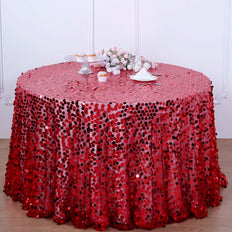 120 inch Big Payette Red Sequin Round Tablecloth Premium Collection