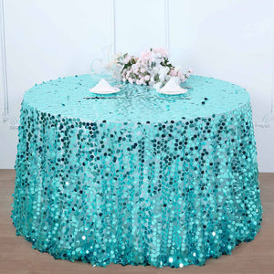 120 Inch | Big Payette Turquoise Sequin Round Tablecloth Premium Collection | TableclothsFactory