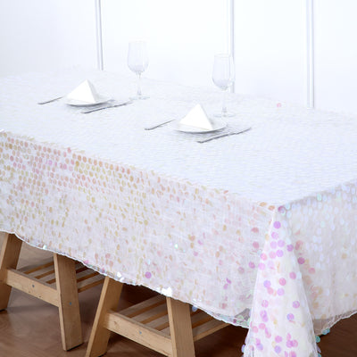 60x102 inches Big Payette Iridescent Sequin Rectangle Tablecloth