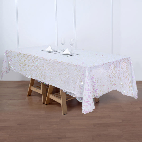 "60""x102"" Big Payette Iridescent Sequin Rectangle Tablecloth"