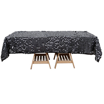 60x102 inches Big Payette Black Sequin Rectangle Tablecloth