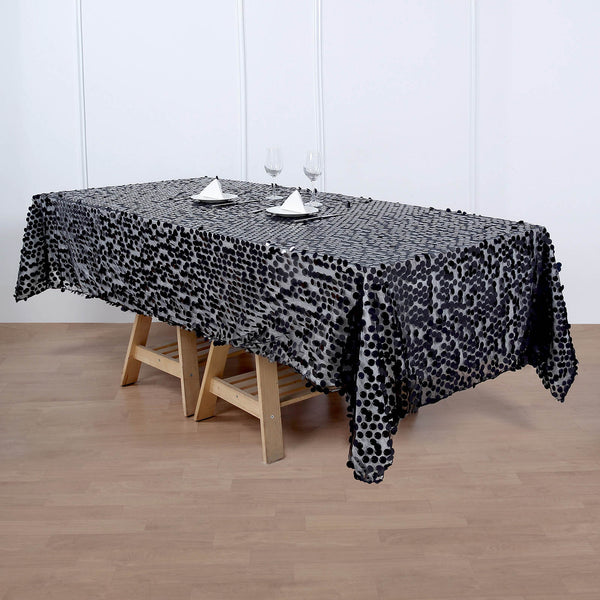 "60""x102"" Big Payette Black Sequin Rectangle Tablecloth"