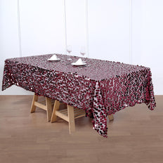 60x102inches Big Payette Burgundy Sequin Rectangle Tablecloth