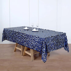 60x102 inches Big Payette Navy Blue Sequin Rectangle Tablecloth