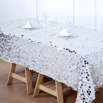 60x102 inches Big Payette Silver Sequin Rectangle Tablecloth