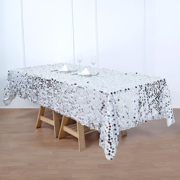 "60""x102"" Big Payette Silver Sequin Rectangle Tablecloth"