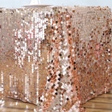 "90X132"" Wholesale Blush Premium Big Payette Sequin Rectangle Tablecloth For Wedding Banquet Party"