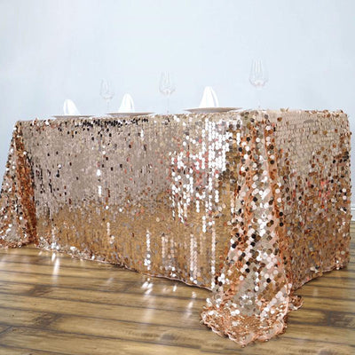"90X132"" Premium Big Payette Sequin Rectangle Tablecloth - Rose Gold 