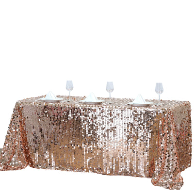 90x156 Big Payette Sequin Rectangle Tablecloth - Rose Gold | Blush