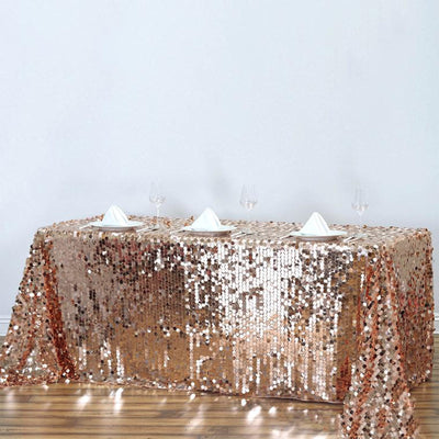 "90""x156"" Big Payette Sequin Rectangle Tablecloth - Rose Gold 