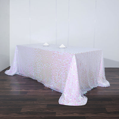 90x156 Iridescent Big Payette Sequin Rectangle Tablecloth Premium