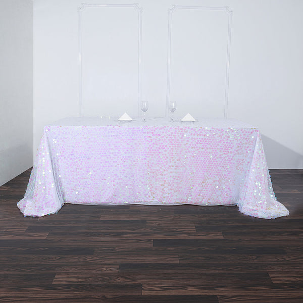 "90""x156"" Iridescent Big Payette Sequin Rectangle Tablecloth Premium"