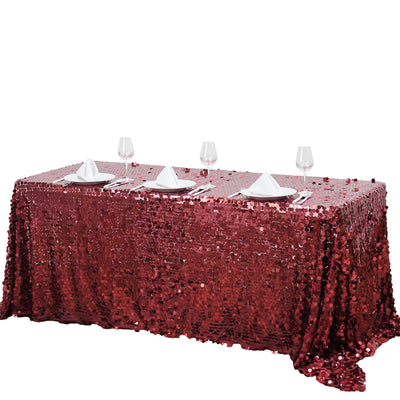"90X156"" Burgundy Big Payette Sequin Rectangle Tablecloth Premium"